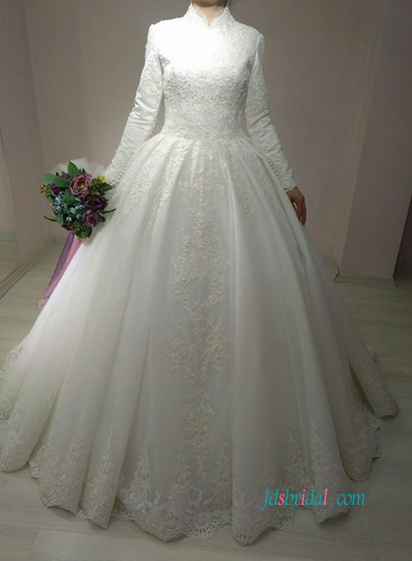 muslim full lined modest long sleeved satin ball gown wedding dress with high collar neckline