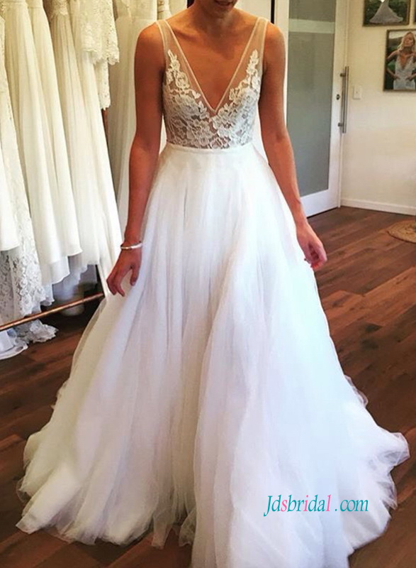 9441eba91b5e H0896 Sexy semi sheer lace top tulle bottom skirt wedding dress