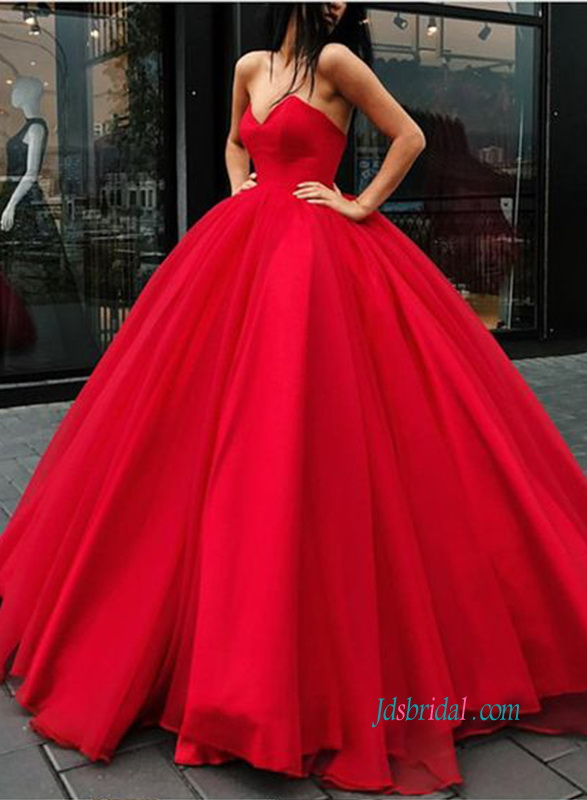 H0897 Stunning red sweetheart neck ball gown wedding dress