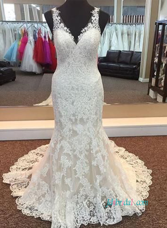 H0898 Sexy v neckline lace mermaid wedding bridal dress