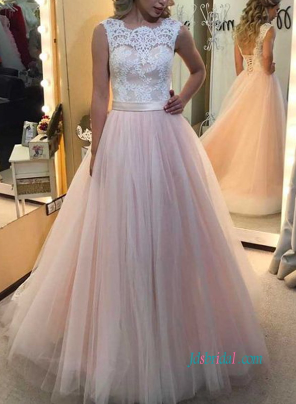 H0899 low back white lace and pink tulle wedding dress