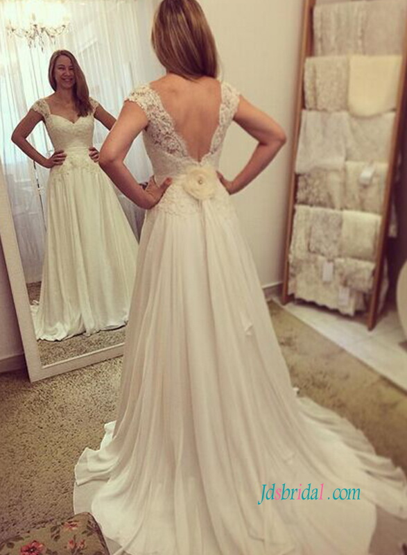 H0904 Grace deep v-cut back chiffon a line wedding dress :