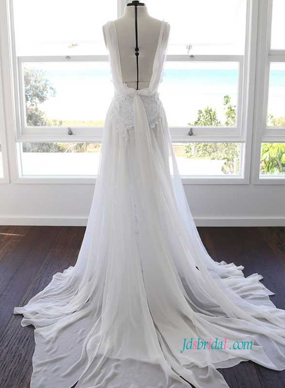 H0905 light and soft airy bohemian backless wedding dress
