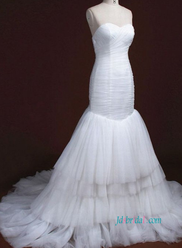 H0907 Cheap white tulle mermaid wedding dress for sale
