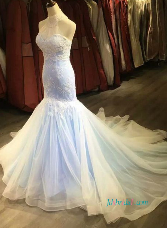 H0910 Blue and ivory lace halter mermaid wedding dress