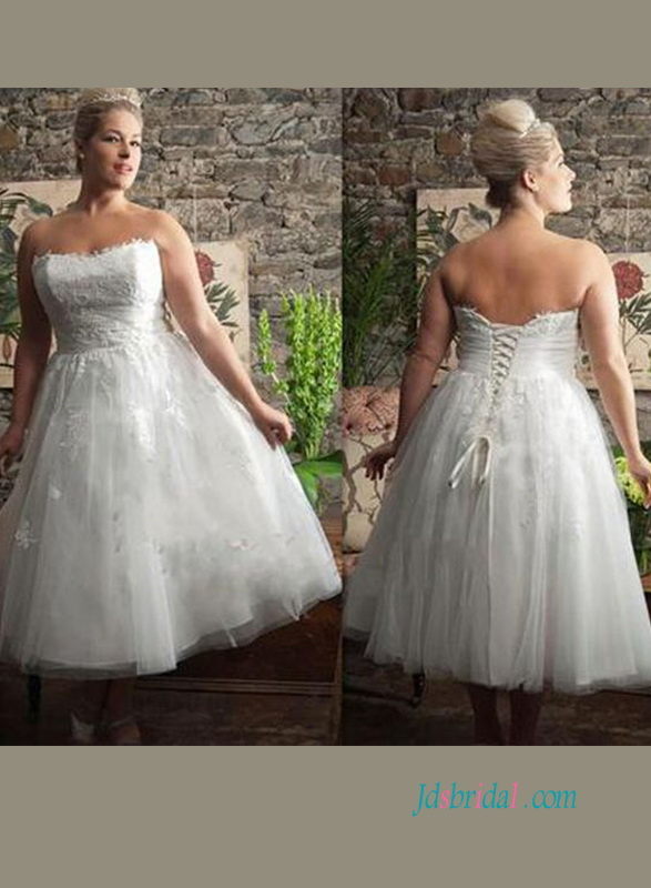 H0914 Cheap plus size short lace vintage wedding dress :