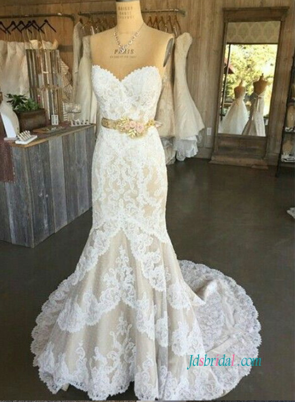 H0915 Sweetheart neck white lace over champagne mermaid wedding dress