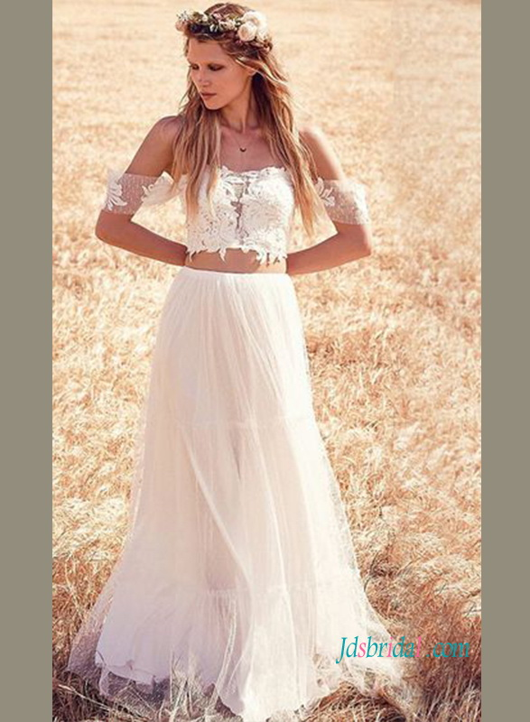 9d57566083 H0917 Sexy two pieces polka dots bohemian wedding dress :