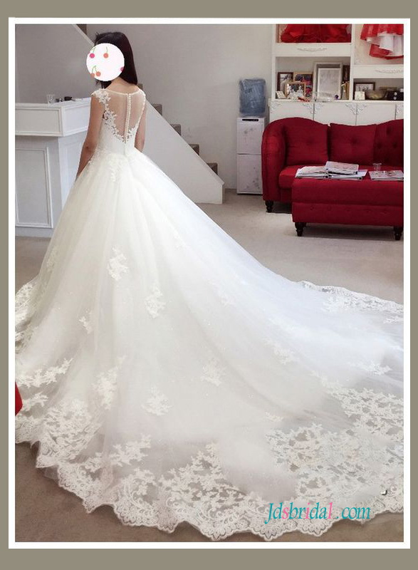 H0919 Illusion boat neck tulle and lace princess wedding ball gown