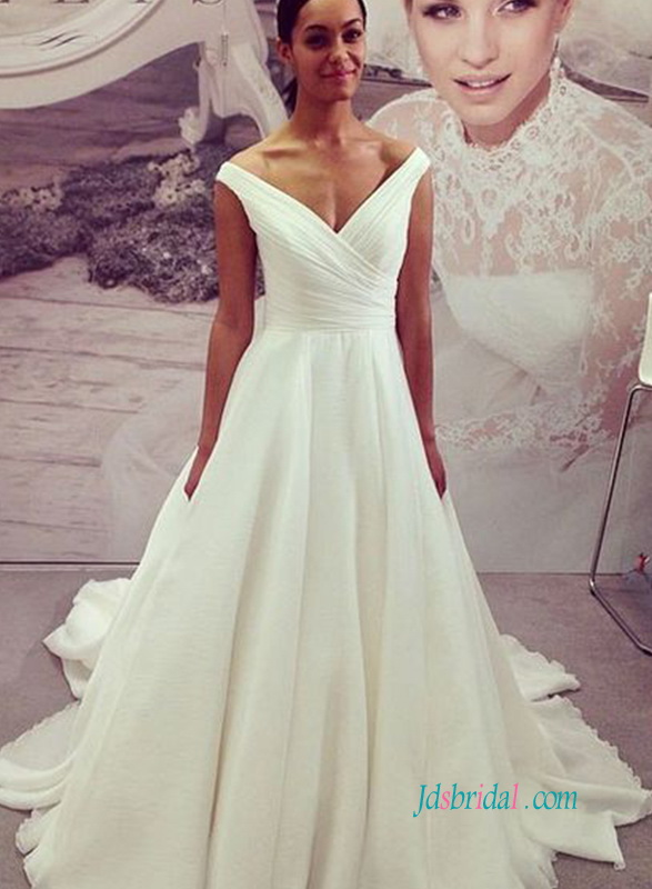 TIMELESS off the shoulder portrait v neckline chiffon a line wedding dress with train
