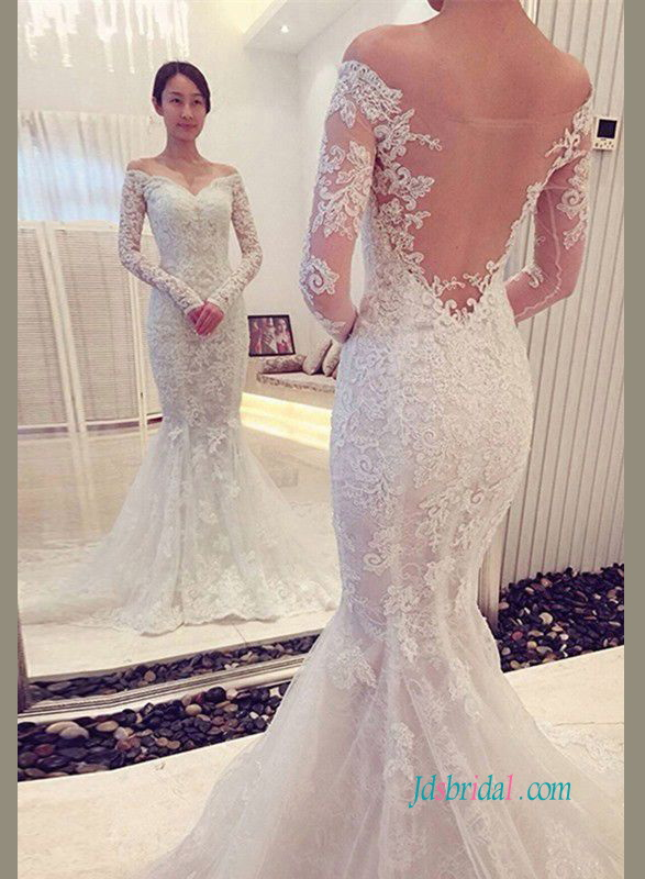 H0924 Long sleeve lace mermaid wedding dress with sheer back :