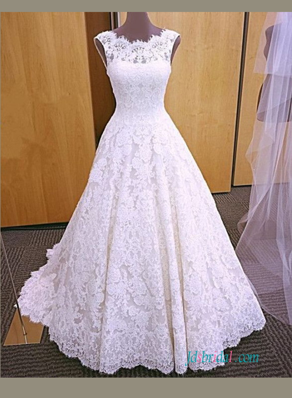 H0925 Inspired Vintage lace open back wedding dress ball gown :