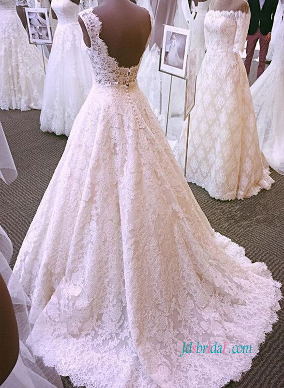 H0925 Inspired Vintage lace open back wedding dress ball gown