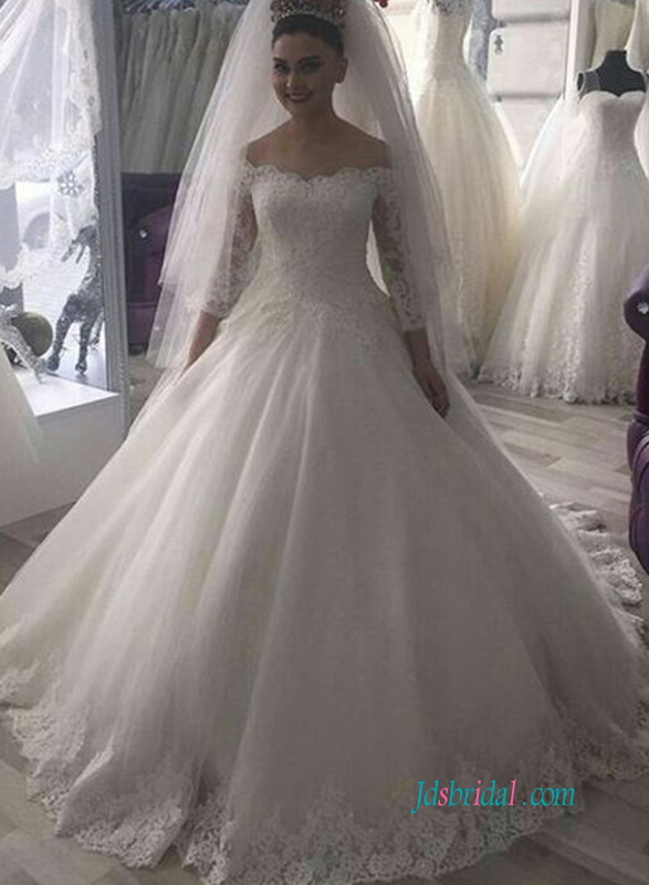 H0927 Off The Shoulder 3 4 Sleeve Princess Modest Wedding Dress
