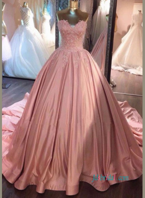 H0929 Feminine pink colored sweetheart satin ball gown wedding dress