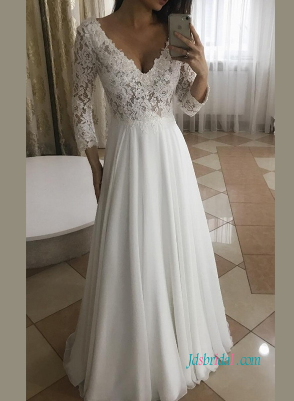 H0931 Sexy simi sheer lace long sleeves beach wedding dress