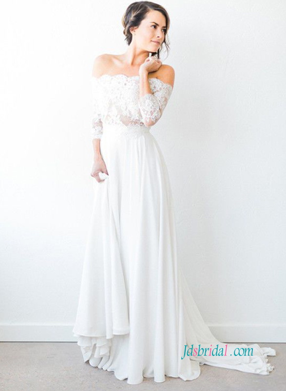 H0934 Off the shoulder 3/4 length sleeved chiffon wedding dress :
