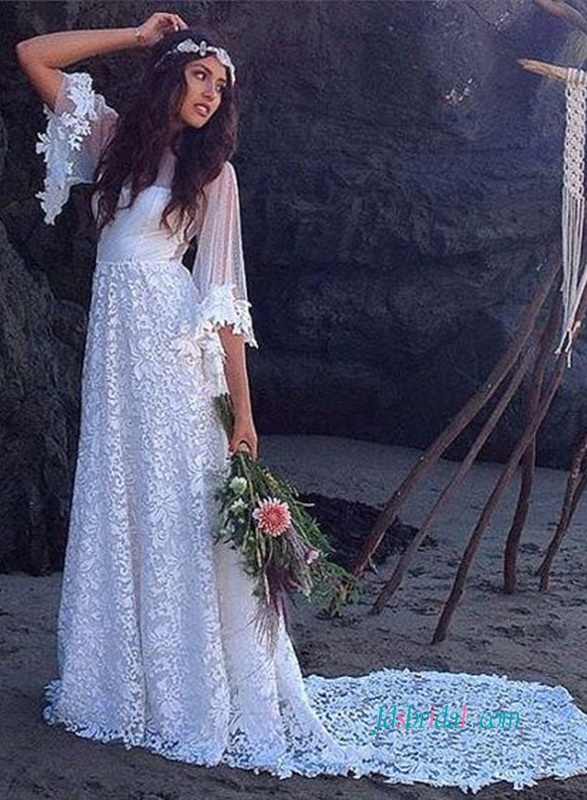 H0936 hippie boho lace wedding dress with bell sleeves Hippie vintage wedding dresses