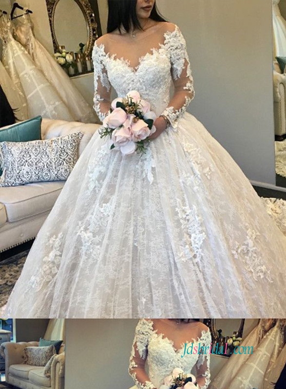 H0938 Luxury off shoulder long sleeves lace princess ball gown