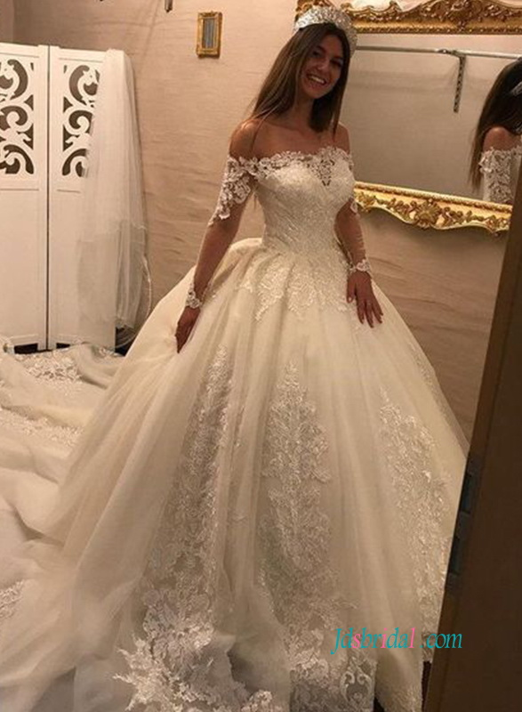 H0939 Romance off the shoulder princess ball gown wedding dress