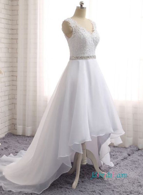 High Collar Wedding Dress Flowy