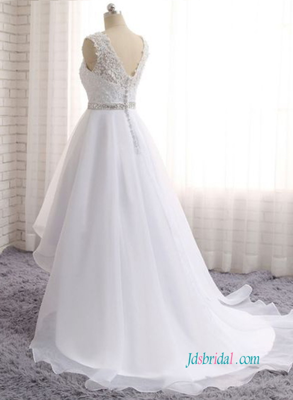 H0940 Romantic strappy lace bodice organza high low wedding dress