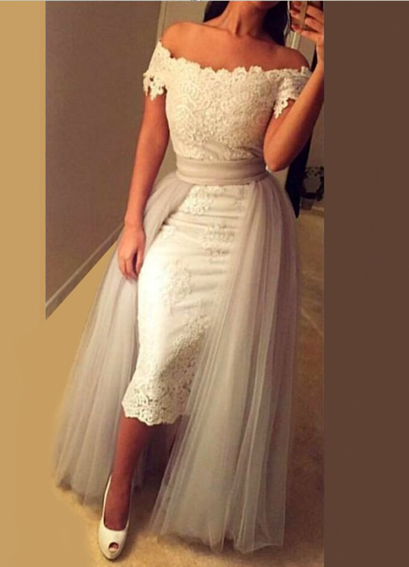 H0518 Off the shoulder sheath tea length bridal wedding dress