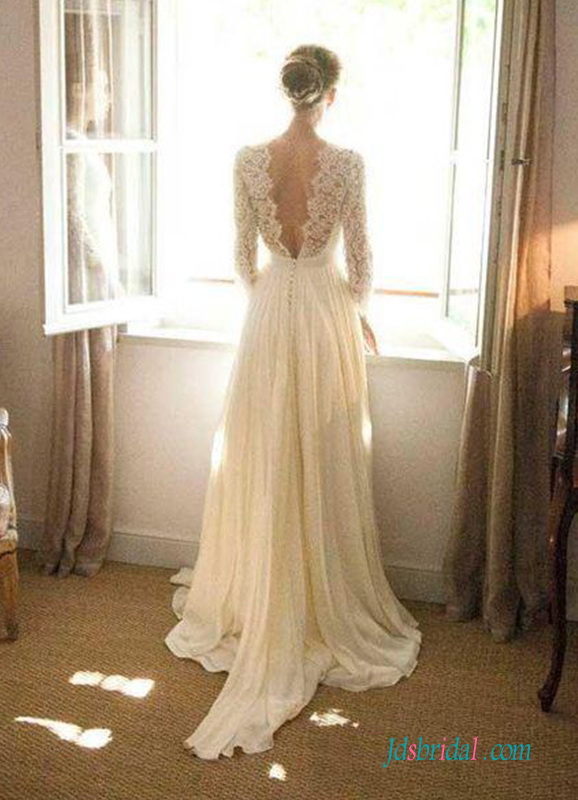 light and airy chiffon destination wedding dress with long sleeves for cityhall wedding