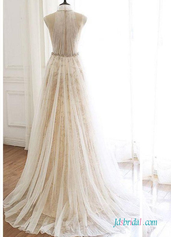 H0521 Sexy halter plunging tulle champagne wedding dress