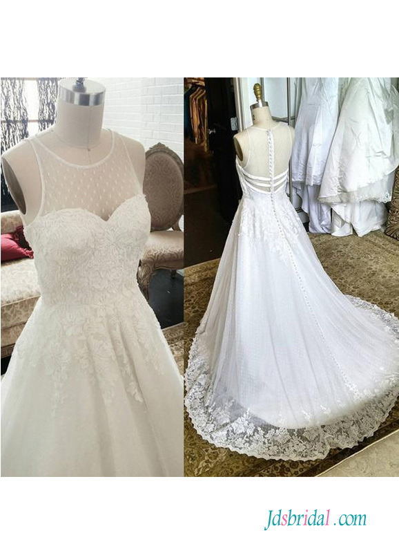H0524 Beautiful polka dot tulle illusion back wedding dress