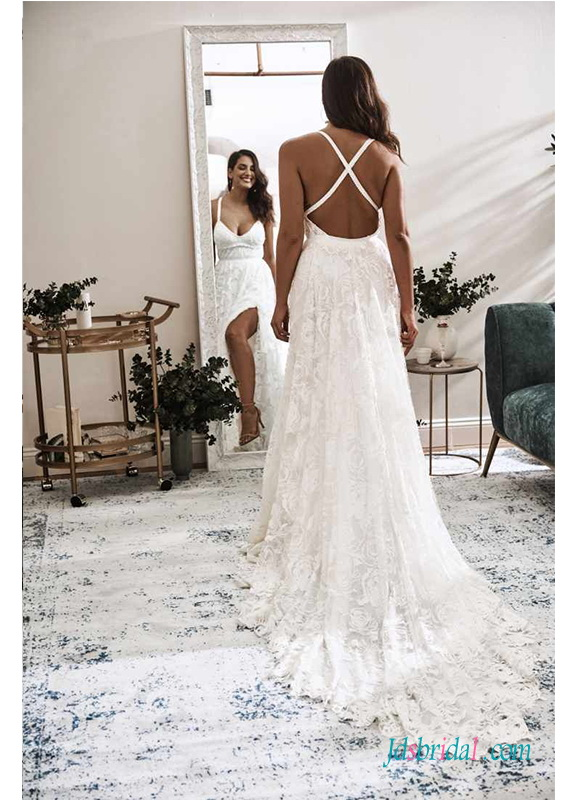 Sexy backless boho lace wedding dress with slit skirt