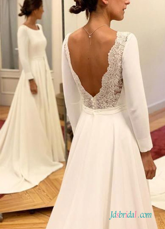 H0527 Elegant low back bateau neckline wedding dress