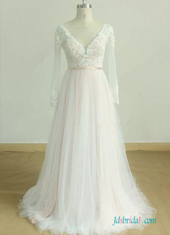H0530 Colored Champagne liner ivory tulle wedding dress