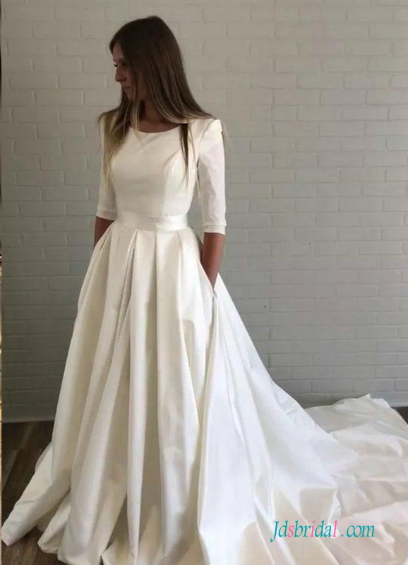 H0532 Modest 1/2 length sleeves satin wedding dress