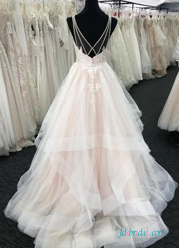H0533 Sexy sheer back tiered tulle ball gown wedding dress