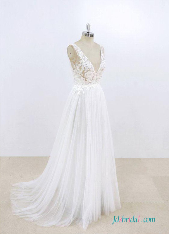 H0535 Sexy illusion lace tulle destination wedding dress