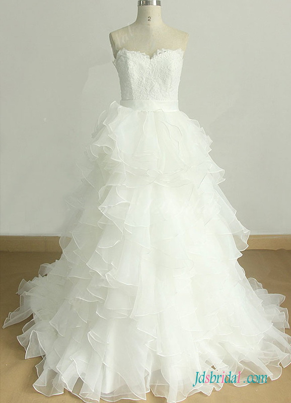romance sweetheart neckline organza ruffles bottom ball gown wedding dress with lace bodice