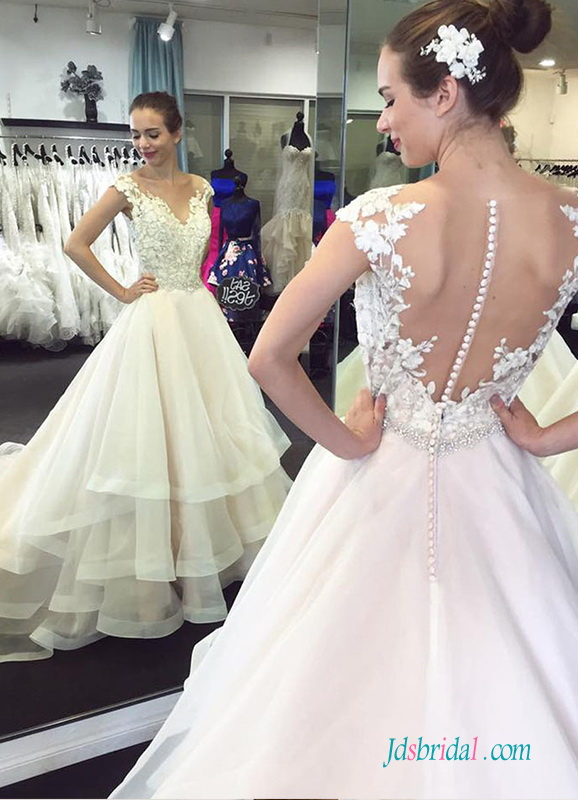 H0539 Unique tiered organza ball gown wedding dress