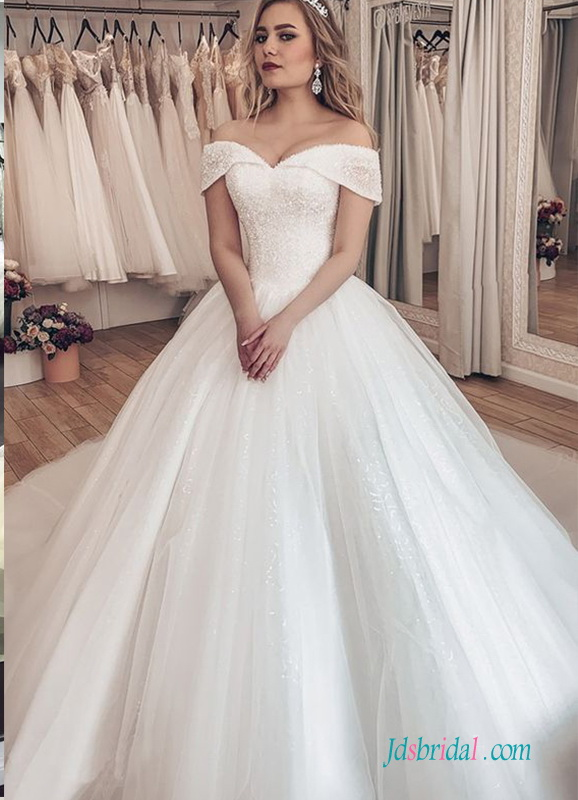 H0540 Romantic sparkly beading off the shoulder ball gown wedding dress