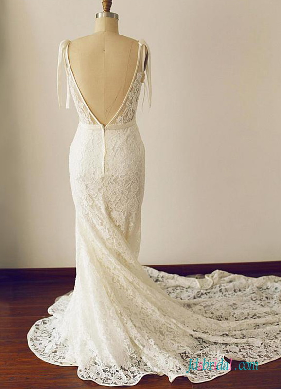 H0542 Sexy Open v back illusion lace mermaid wedding dress