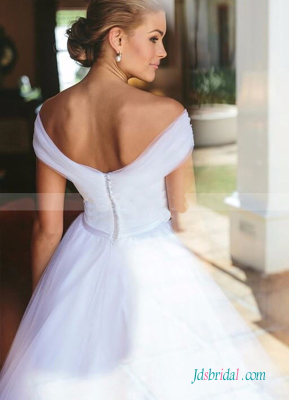 H0545 simply off the shoulder tulle princess wedding ball gown
