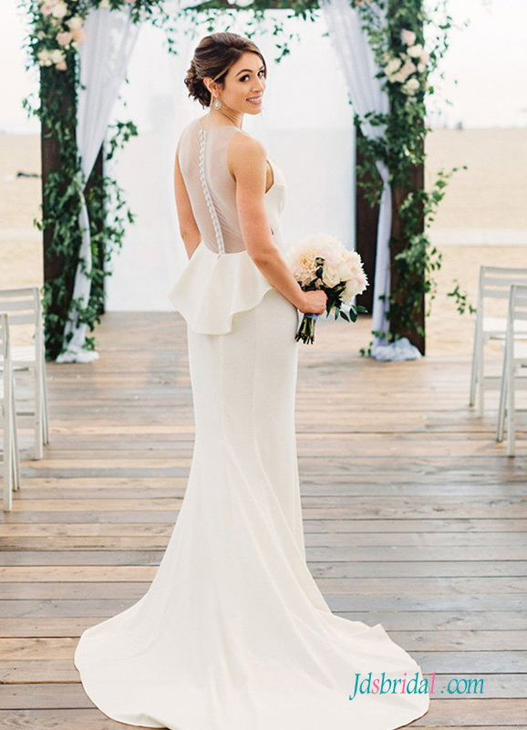 H0548 Sexy sheer back plunging mermaid wedding dress
