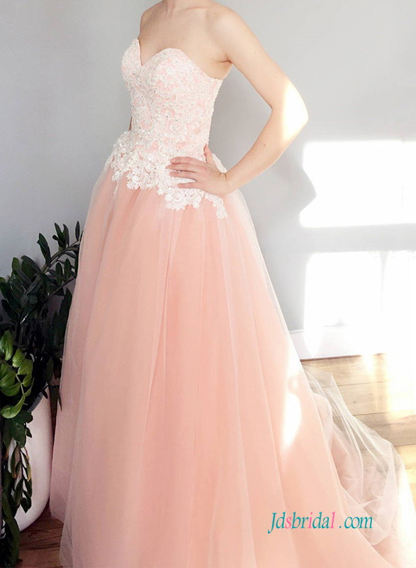 H0560 Simply sweetheart pink and white wedding ball gown