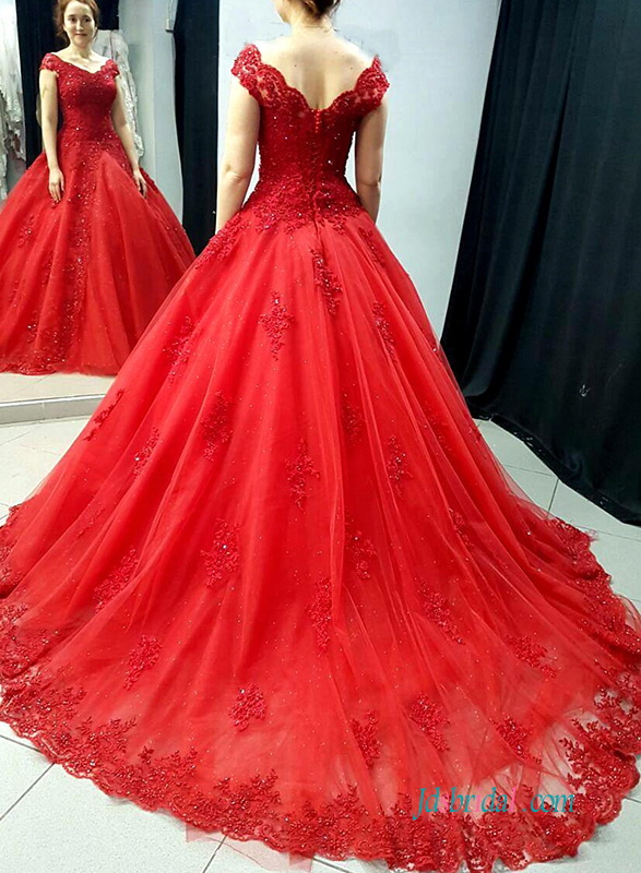 H0562 Beautiful off the shoulder red colored wedding dress