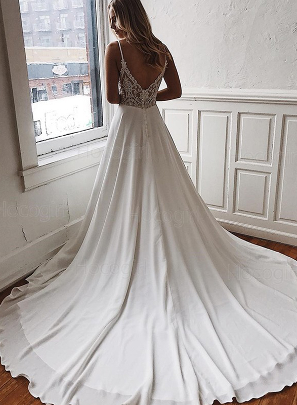 sexy plunging deep v neckline illusion lace back chiffon destination wedding dress