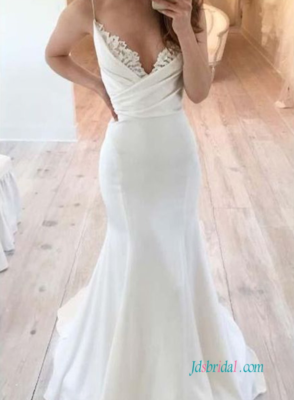 H0569 Sexy simply spaghetti straps mermaid wedding dress