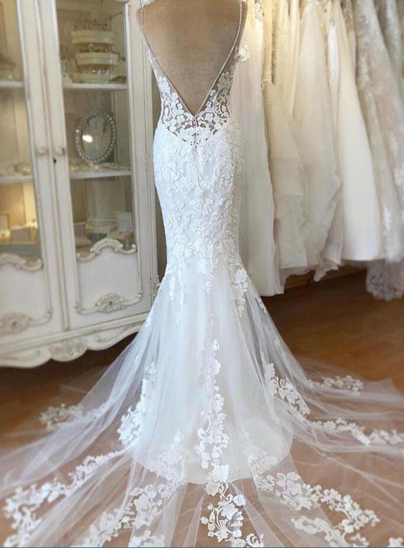 sexy spaghetti straps lace mermaid wedding dress with low back