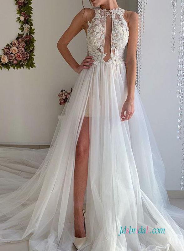 sexy plunging illusion lace halter bodice with flowy slit skirt wedding dress for summer beach wedding