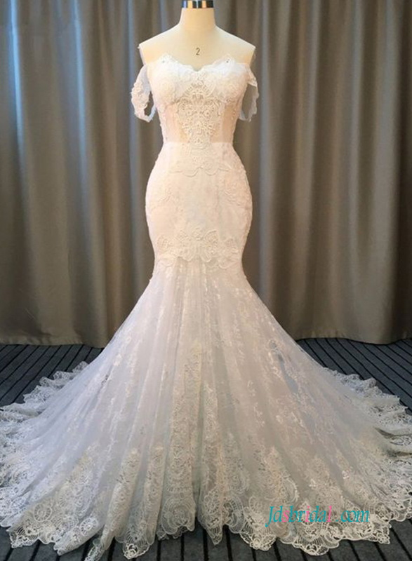 H0573 Sexy off the shoulder illusion lace mermaid wedding dress