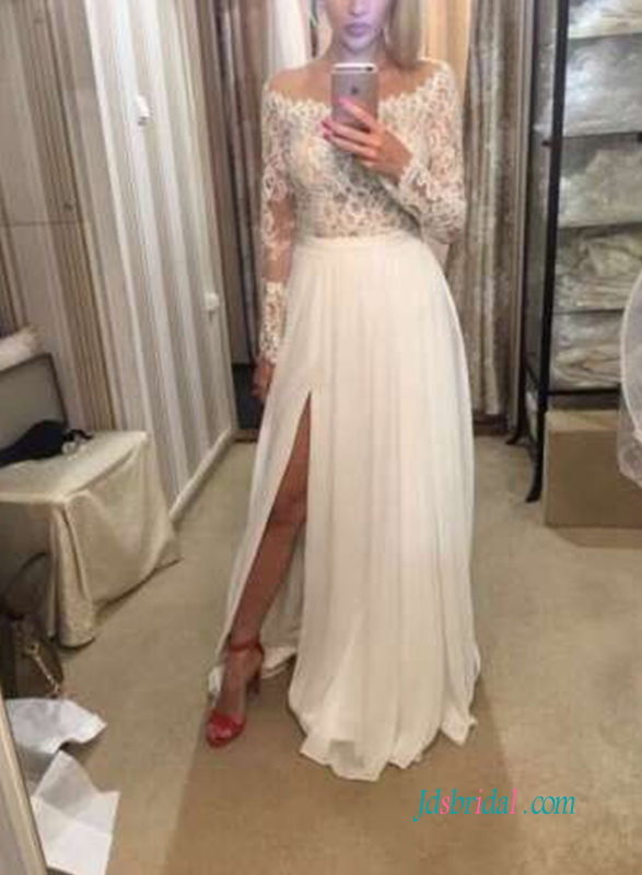 H0577 Sexy slit skirt off shoulder destination wedding dress